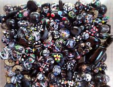 LAMPWORK Glass Bead Mix 50g Black Multi Jewellery Making