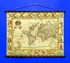 Antique Old World Map By Moses Pitt 1680, Canvas w/ Vintage Wooden Frame Hanger