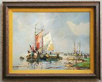 Antique Original Oil Painting Ships Fishing Sail Boats Harbor Maritime Seascape