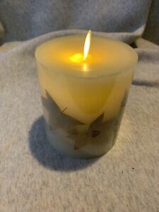 "Luminara 3.5"" X 4.5"" Gold Leaf Flameless Candle"