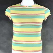 Body by Victorias Secret Womens Shirt Medium Yellow Green Striped Fitted Shorts