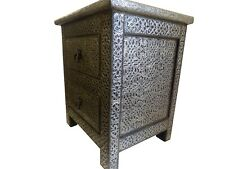 Moroccan Nightstand Silver Antique Finished with Glass Top