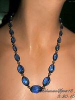 ART DECO CZECH GLASS OVAL BLUE BEADS STRAND NECKLACE