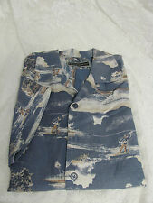 FIELD & STREAM LARGE Blue Linen Blend Camp Shirt Fishing Boat NWOT