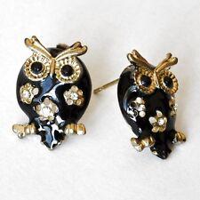 Owls Earrings Ear Stud Black Rhinestone Enamel Owl Gufo Hibou
