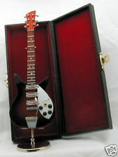 """Electric Guitar handmade collectible miniature 6.75"""" w/ stand & black case (116)"""