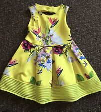 Girls Yellow Floral Ted Baker Dress Size 4