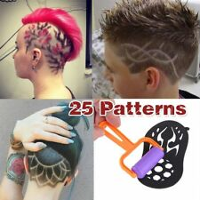 25PCS/Lots Temporary Tattoo Stencil Haircut Hair Coloring Shaping Tool W/ Roller