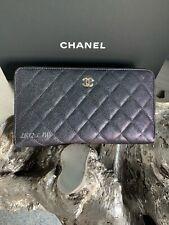 CHANEL 19S Iridescent Black Caviar XL Travel Wallet Zip Around Clutch Checkbook