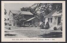 Postcard CARTHAGE Illinois/IL  Old Jail & Latter Day Saints Cottage 1952