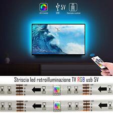 Striscia strip led luce RGB USB 5V adesiva retroilluminazione TV 2mt telecomando