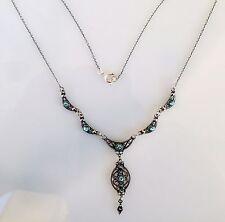 Antique Greek Aquamarine Cz Filigree Necklace Sterling Silver 925 Code 12007