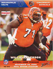 Cincinnati Bengals Indianapolis Colts 11/20/05 NFL Game Program..Willie Anderson
