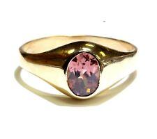 14k yellow gold Pink Topaz gemstone ring 6g estate vintage antique womens ladies