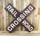 "Railroad Rail Road Crossing Large Prismatic 23"" Metal Sign Rustic Vintage Train"