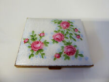 """New listing Vintage Enameled Compact With Hand Painted Pink Roses 3"""" X 2.5"""""""