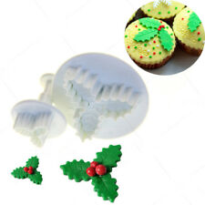 2PCS Baking Cookies Plunger Cutter Xmas Holly Leaf Decorating Sugar Craft Moulds