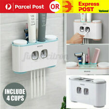 Wall Mount Handfree Toothbrush Automatic Toothpaste Dispenser Set 5 Holder 4 Cup
