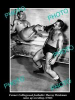 OLD POSTCARD SIZE PHOTO OF COLLINGWOOD FC CAPTAIN MURRAY WEIDEMAN WRESTLING