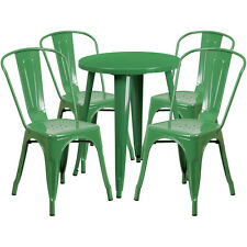 24'' Round Green Metal Indoor-Outdoor Restaurant Table Set with 4 Cafe Chairs