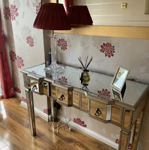 Venetian Mirrored Console Table Large Dressing Furniture Antique Silver Glass