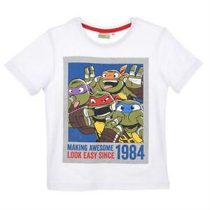 TURTLES t-shirt TORTUES NINJA 3 4 6 ou 8 ans blanc  manches courtes NEUF