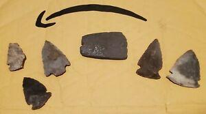 Native American / Indian Artifacts 6pc Celt Axe Head Hatchet Tomahawk Arrowheads