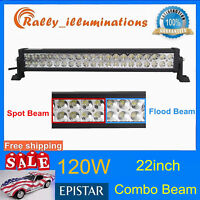 """22inch 120W LED WORK LIGHT BAR SPOT/FLOOD COMBO TRUCK OFFROAD DRIVING 4WD 20/24"""""""