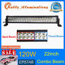 22inch 120W LED WORK LIGHT BAR SPOT/FLOOD COMBO TRUCK OFFROAD DRIVING 4WD 20/24""