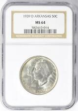 1939-D Arkansas Commemorative Silver Half Dollar - NGC MS-64 - Low Mintage