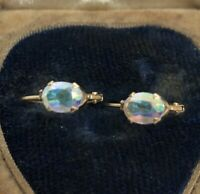 14k Gold Estate Vintage Earrings Faux Opal Lever