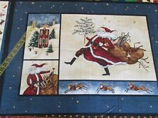 Christmas fabric panel Susan Winget Jolly St. Nick santa Navy Blue wallhanging
