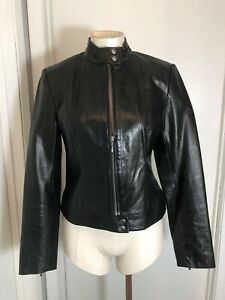 Women's Indeed Black Leather Zip Front and Sleeves Moto Jacket Size M