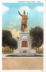 "LIMA, PERU, STATUE OF INCA EMPEROR ""MANCO CAPAC"", SABLICH PUB, c 1915-30"