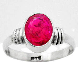 Ruby Simulated 925 Sterling Silver Ring s.9.5 Jewelry E175