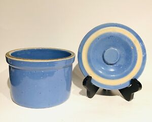 Vintage UHL Pottery Blue Stoneware 1 lb. Butter, Cheese Crock, White Band Lid