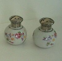 Hinode Occupied Japan Round Salt & Pepper Shakers Hand Painted Florals