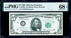$5 1969 Federal Reserve Note San Francisco PMG 68 EPQ Superb Gem Uncirculated