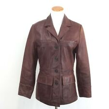 Mossimo Distressed Fitted Brown Leather Blazer Jacket Fully Lined Womens Size M