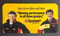 Vintage 90's Signed Mario Andretti w/ Davey Allison Texaco Havoline Racing Sign