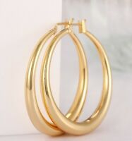 18K Gold Plated Round French Lock Hoop Earrings with Gift Box ITALY MADE
