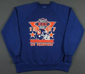 Denver Broncos Vintage 80's 1987 AFC Champs Super Bowl Crewneck Sweatshirt Large