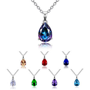 925 Silver 10*14MM Waterdrop Pear Mystic Topaz Drop Dangle Pendant Necklace Gift