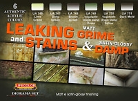 LifeColor LC-CS39 Leaking Grime Stains & Damp Acrylic Paint Set 22ml (Pk6) Ass
