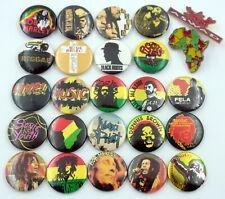 BOB MARLEY AND REGGAE / RASTA BADGES 25 x Vintage Pin Badges * Aswad *