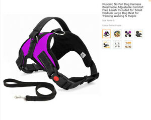 Musonic No Pull Dog Harness Breathable Adjustable Comfort Free Leash Size S