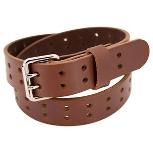 Men's Double Prong Full Grain Heavy-Duty Leather Belt 2 Hole - USA Made By Amish