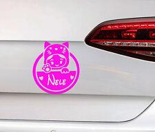 Baby on Board Auto Aufkleber + Wunschnamen süße Baby Katze Cat Kitty Sticker