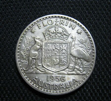 1956 1 Florin Australia vintage silver coin money rare old currency QEII Nice