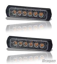 2x 12 / 24v Amber Slim Strobe Flashing LED Light Recovery Truck Breakdown Lamps
